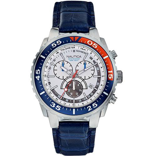 56b6eb07286 Nautica NST 700 Chrono Blue Leather Strap Watch