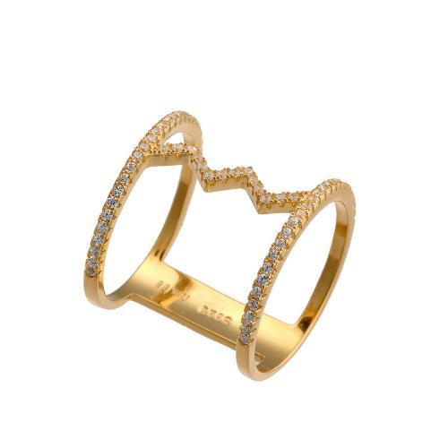Δαχτυλίδι Διπλό Aπό Ασήμι 925 Gold με λευκά ζιργκόν  72cf9f26c65