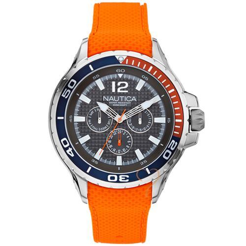 Nautica Fashion Active NST02 Orange Rubber Strap Watch  5e2050394c8