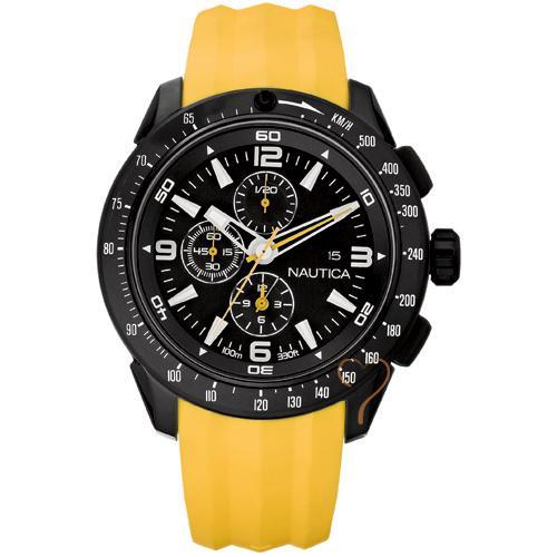 Ρολόι Nautica Ανδρικό NST 101 Black Dial   Yellow Rubber Strap ... c8eb591fa43