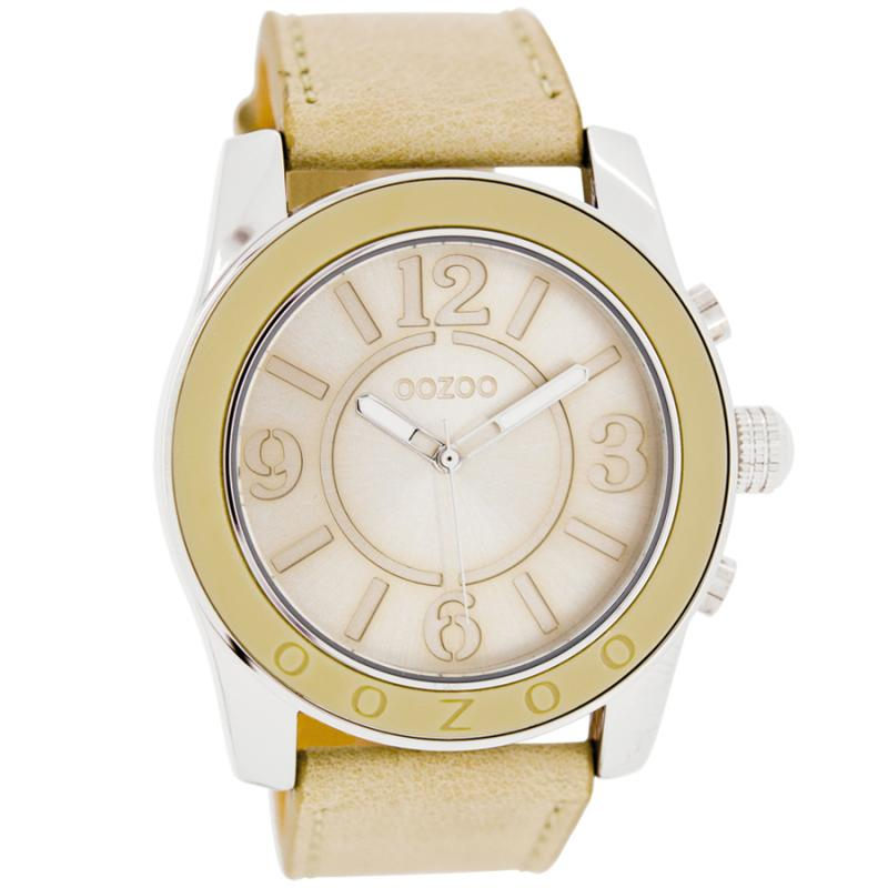 Oozoo Timepieces 45mm Silver Case   Beige Leather Strap Watch ... b42a58ef5ba