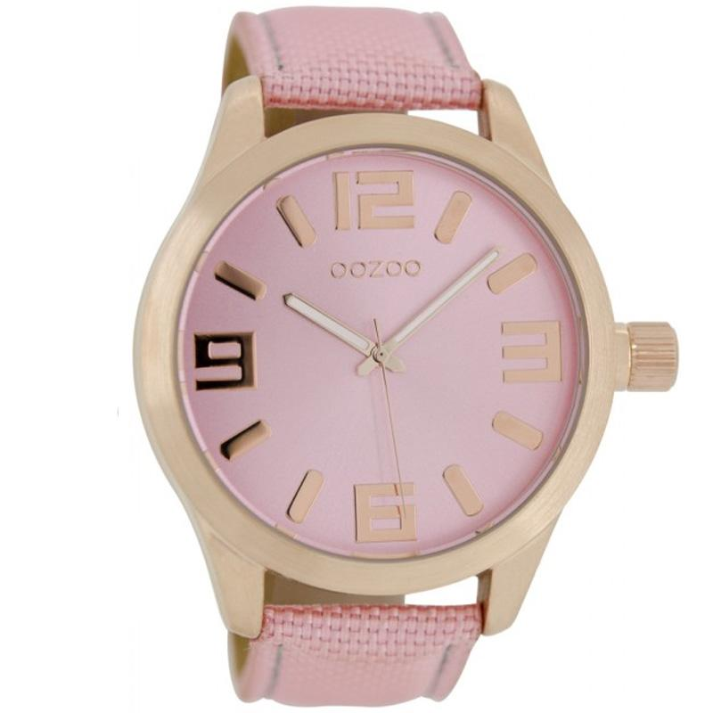 2f047b162 Oozoo XL Timepieces 46 mm Rose Gold Pink Fabric Leather Strap Watch ...