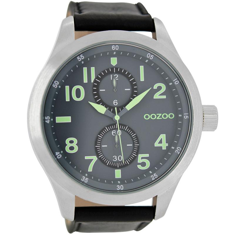 OOZOO Timepieces XXL 50mm Black Leather Strap Watch  2cf51b72ffd