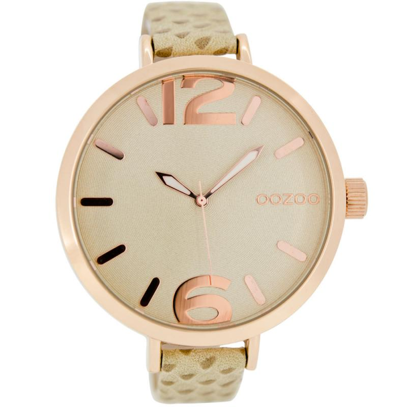 OOZOO Timepieces XXL 48mm Beige Leather Strap Watch  7b3b41190de