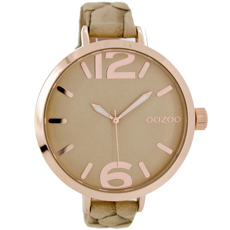 Ρολόι OOZOO Timepieces XXL Rose Gold Brown Leather Strap  46823ca32f4