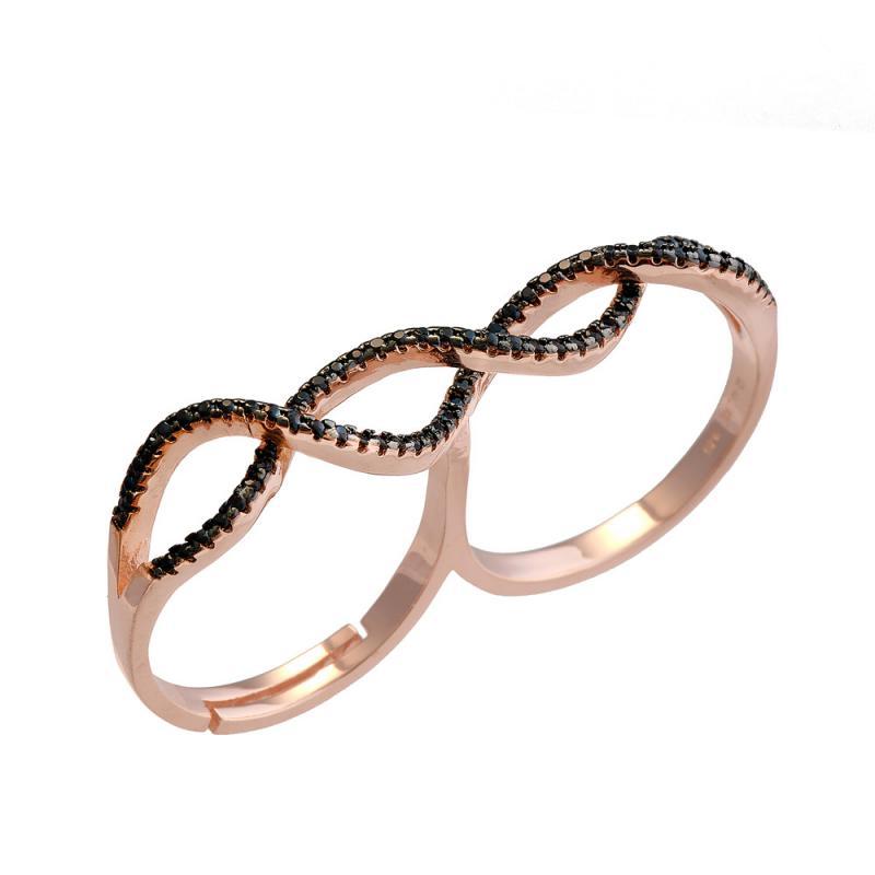 Δαχτυλίδι Διπλό Aπό Ασήμι 925 RoseGold με μαύρα ζιργκόν  4467c67af1f