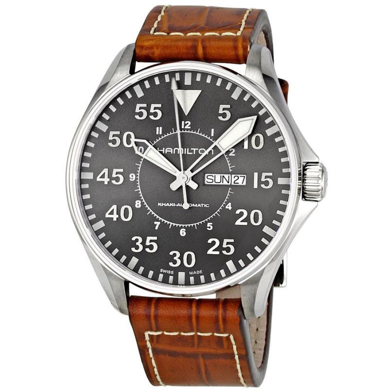 Ρολόι HAMILTON KHAKI Aviation Pilot Auto Brown Leather Strap  22eee82e640