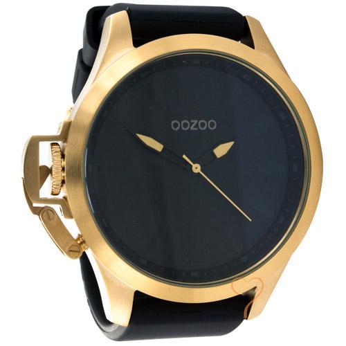 Unisex Ρολόι Oozoo Black Strap Gold Case 50 mm  1e8dd9bcc3d