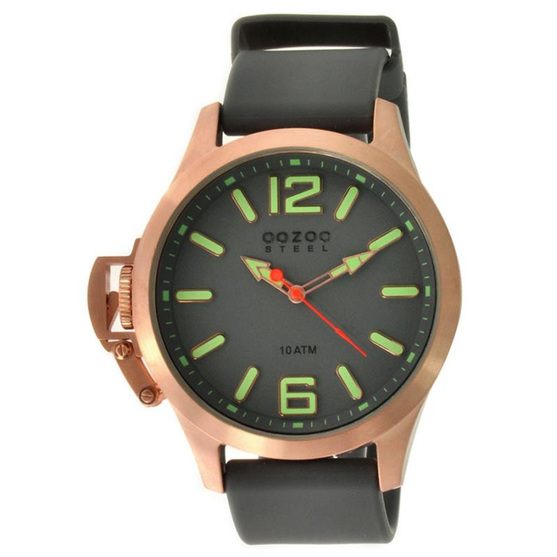 Unisex Oozoo Steel XL Rose Gold Grey Rubber Strap Watch  a87d681afd2
