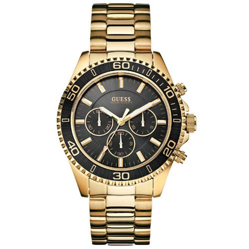 Guess Men Chrono Black Dial Gold Stainless Steel Bracelet Watch