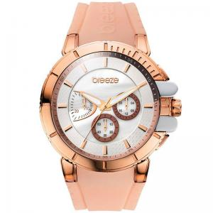 BREEZE 3D Shadow Chrono Rosegold Nude Rubber Strap Watch 4cc00292bc5