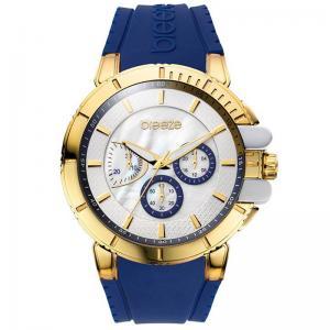 BREEZE 3D Shadow Chrono Gold Blue Rubber Strap Watch 2b845bcf8e7