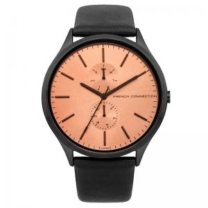 men watches fcuk bemine de french connection rose gold dial black leather strap watch