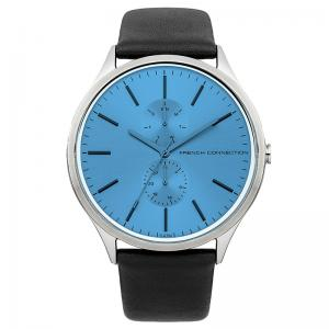 men watches fcuk bemine de french connection light blue dial black leather strap watch