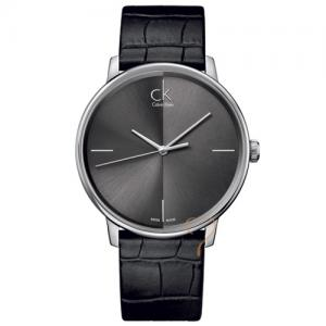 Calvin Klein Accent Black Dial and Black Leather Strap Watch c00020a403a