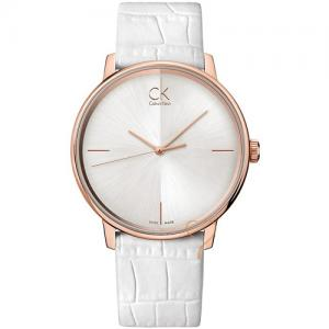 Calvin Klein Accent White Dial and White Leather Strap Watch cadbf361759