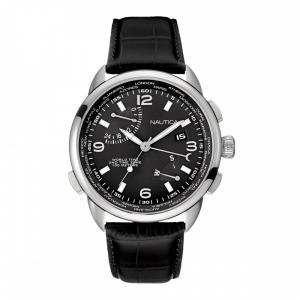 Nautica NWT 01 Black Leather Strap Watch 65047fca942