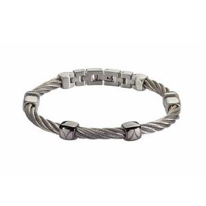 Rose Gold Silver Black Steel Bracelet by ROSSO AMANTE 48c939b4697
