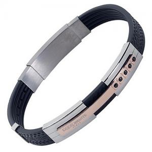 Silver Black Rose Gold Steel Rubber Bracelet by ROSSO AMANTE a1d03b0d3ec